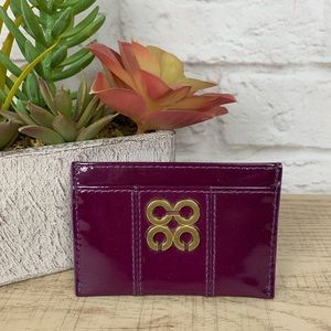 COACH Julia Patent Leather Card ID Case Purple